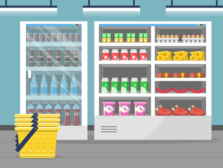 Grocery store showcase. Shop food store inside the supermarket checkout vector background. Illustration of shop and market interior with food Ilustração Vetorial