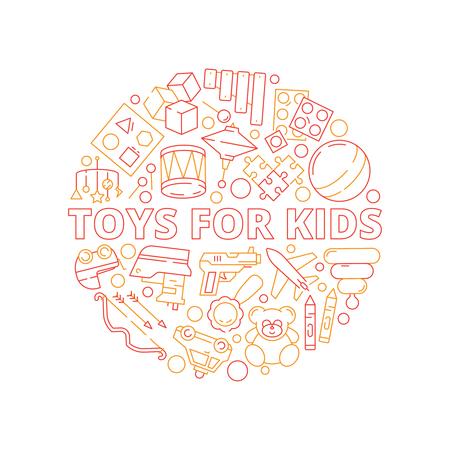 Concept de jouets pour enfants. Forme de cercle avec des jeux pour enfants voitures en plastique cheval ours soldats livres images vectorielles colorées. Locomotive et bateau de jouet d'enfants, illustration de cheval et d'ours