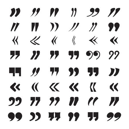 Anführungszeichen. Textblock-Zitat-Meinung oder Ideen-Zitat-Vektor-Icons-Sammlung. Illustration des Diskussionszitats, doppelte Bemerkung zum Zitieren