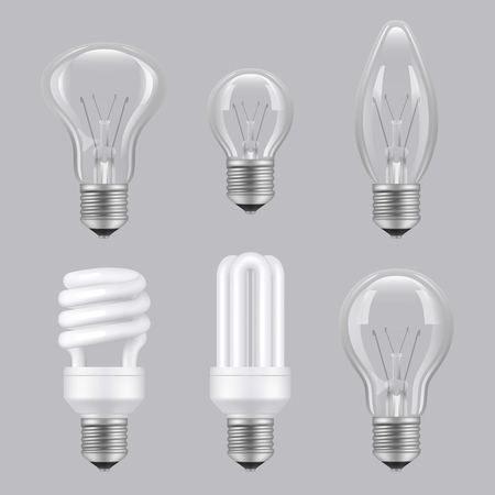 Realistic bulbs. Lighting electricity glass transparent lamps vector collection pictures. Illustration of lightbulb innovation electricity lamp Illustration