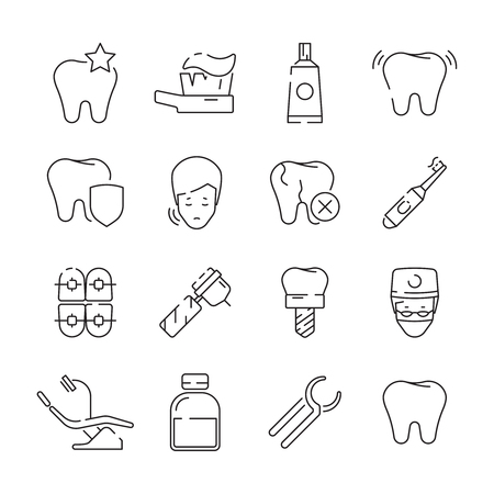 Dental icons. Medical protection teeth removal health care symbols vector thin linear picture. Illustration of stomatology icons set