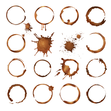 Coffee circles. Dirty rings splashes and drops from tea or coffee cup vector template. Mug coffee stain, dirty and splatter circle from overflow illustration