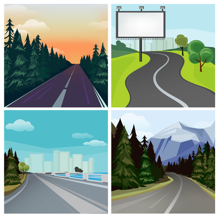 Road to town. Outside highway street scenic different types of city road vector landscape. Road travel, tree and hill, highway and skyline illustration