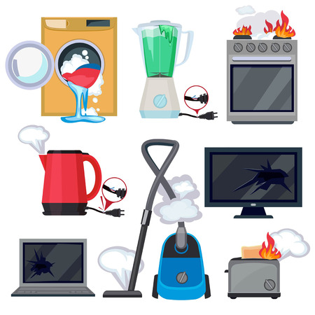 Broken appliance. Damage kitchen home items tv washing machine tablet laptop vector cartoon illustrations. Equipment tv and washing machine damaged 矢量图像