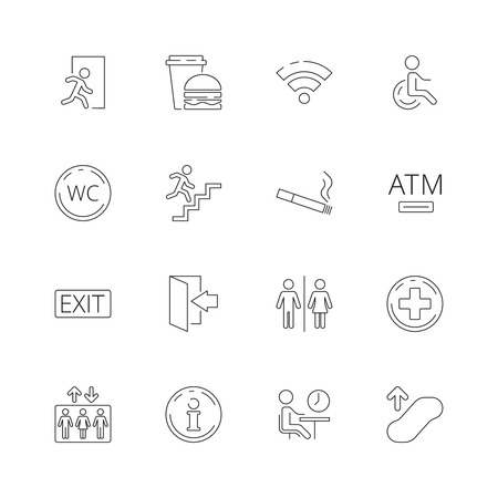 Public navigate symbols. Toilet person food place shapes internet food elevator vector thin line icon. Illustration of toilet public symbol, elevator and smoking area Illustration