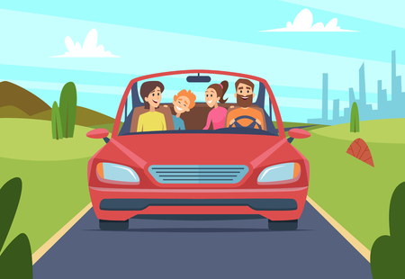 Happy family in car. People father mother kids travellers in automobile vector front view. Illustration of car with happy family, journey and drive trip Çizim