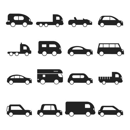 Car silhouettes icon. Type of transport minivan truck suv micro van vector black symbols. Auto hatchback silhouette, off-road minivan illustration