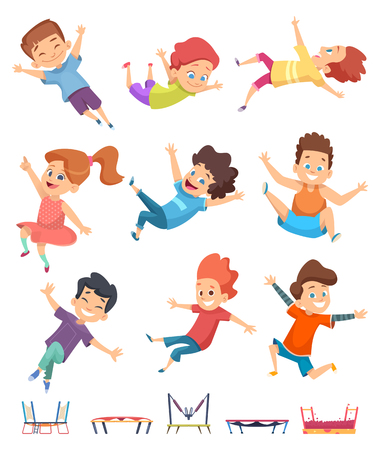 Kids jumping. Trampoline childrens athletic playing on playground active games vector cartoon people. Illustration of sport trampoline for kids, jump and fun