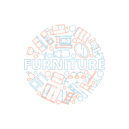 Furniture background. Interior tools in circle shape sofa chair table bed household vector design template. Home furniture shop badge with bed table and chair illustration Illustration
