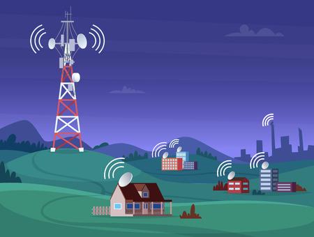 Tour sans fil paysage. Antena satellite couverture mobile télévision radio cellulaire signal numérique illustration vectorielle. Tour d'antenne de communication pour la diffusion sur Internet Vecteurs