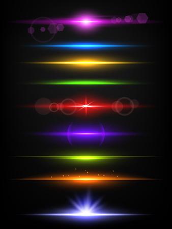 Lignes de néon brillantes. Frontières avec modèle réaliste de vecteur de lumière flash abstrait effet de lueur isolé. Illustration de la lumière vive des rayons et des faisceaux