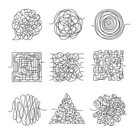 Chaos-Linien. Kritzeln Sie unordentliche Form, die Muster abstrakte Vektorformen einfädelt. Chaoslinie, unordentliches Gekritzel, Kurvenverwicklungsillustration Vektorgrafik