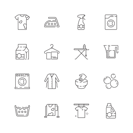 Laundry service icons. Washing clothes laundromat domestic dirt vector laundry symbols. Illustration of housekeeping and washing machine, detergent cleaning Vectores