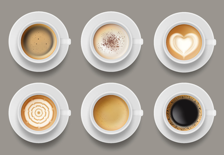Vue de dessus de tasse à café. Modèle réaliste de vecteur de café au lait espresso latte cappuccino. Cappuccino et café au lait, illustration de café expresso