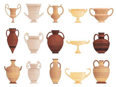 Old ancient vessel. Clay jug cups and amphoras with patterns ceramics antique jug vector pictures. Illustration of ancient vase, jar container and pot Ilustração Vetorial