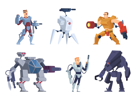 Robots warriors. Characters in exoskeleton brutal future soldiers technology android with guns vector cartoon mascot. Armor cyborg and robotic character illustration
