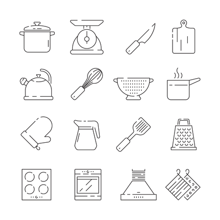 Cooking items icon. Kitchen appliances scoop pan spoons and forks plates electronic scale vector simple thin symbols. Illustration of cookware and saucepan, potholder and kitchenware