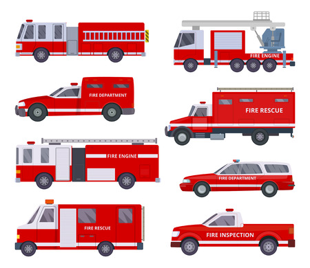 Fire engine. Collection with red emergency department lighting service van helicopter vector vehicles. Illustration of emergency firetruck with siren
