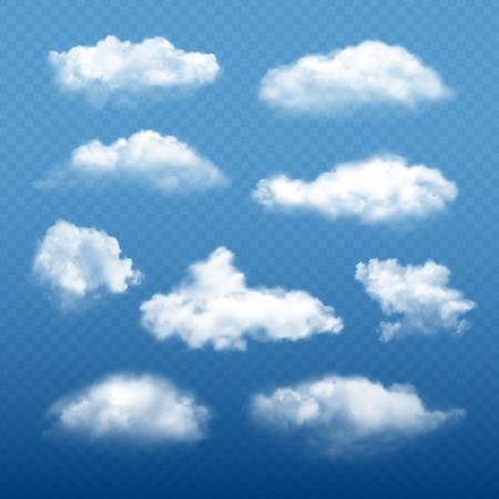Ciel nuageux réaliste. Éléments météorologiques vectoriels de collection de beaux nuages blancs condensation. Illustration de la météorologie nuageuse, cumulus cloudscape