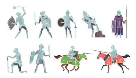 Knight. Chivalry prince medieval fighters brutal warriors on horse battle vector cartoon illustrations. Templar and equestrian, royal mediaeval horseman