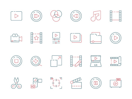 Film edit icon. Animation movie production effect cut clapper multimedia vector colored symbols. Movie film, video multimedia illustration Standard-Bild - 125199864