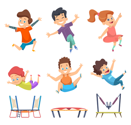 Trampoline kids. Playground childrens active jumping games vector characters in cartoon style. Trampoline jump, happy child and kid illustration