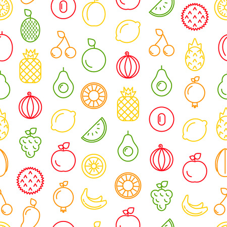 Vector line fruits icons pattern or background illustration. Fruit pattern, vegetarian seamless food Stock Vector - 124966253