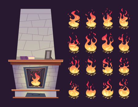 Interior fireplace. Keyframe animation of burning fire place for relax vector cartoons. Illustration of fireplace hot, burn flame Stock Vector - 118029118