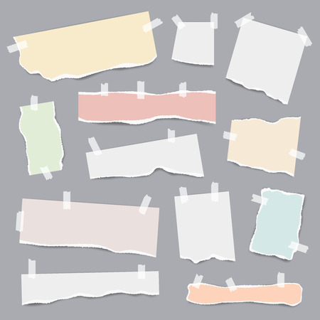 Taped paper. Ripped pieces of white and colored note pages vector realistic template. lllustration of ripped note, torn blank paper Illusztráció