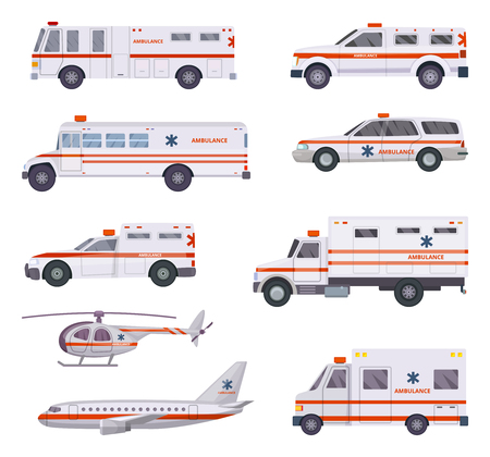Ambulance cars. Health rescue service vehicle van helicopter paramedic emergency hospital urgent auto 911 vector cartoon pictures. Illustration of ambulance medical transportation, helicopter and van