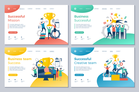 Successful business landing. Web pages design template happy finance investors manager director winning rewards good deal vector. Illustration of business finance success, mission and management