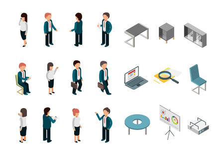 Business people isometric. Office corporate supplies furniture managers directors vector collection. Illustration of people set, businessman manager, laptop and chair