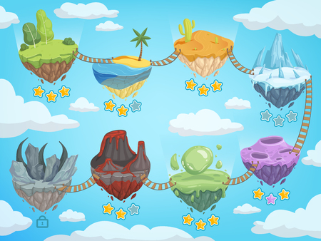 Game level map. Mobile ui stages with various isometric islands with rock grass ice water and volcano vector template. Game platform with rock and mountain, island soar illustration