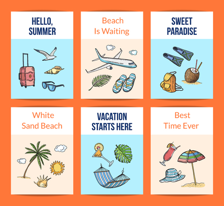 Vector hand drawn summer travel elements card templates set illustration. Summer travel card, exotic palm and vacation