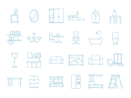 Room furniture icon. Bed table desk chair sofa vector thin symbols pictograms. Illustration of furniture table and sofa, chair and desk Ilustração