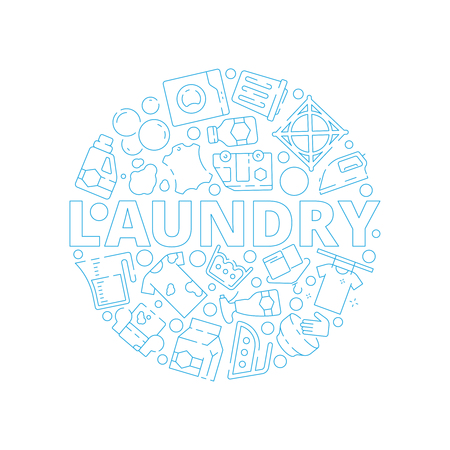 Laundry service background. Dry washing cleaning machine symbols in circle shape vector pictures. Illustration of laundry machine and clothing washing