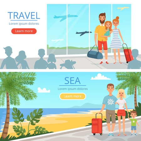 Family goes at vacations. Peoples at airport. Vector banners of travel concept illustrations. Vacation family, people in airport