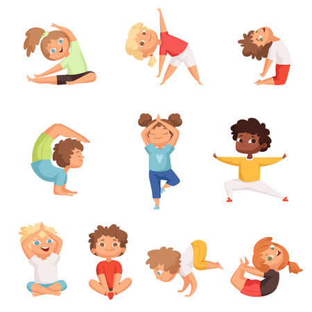 Yoga kids characters. Fitness sport childrens posing and making gymnastics yoga exercises vector illustrations. Sport yoga child, health and meditation boy and girl Illustration