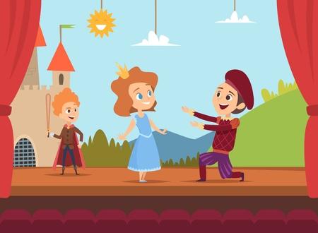 Enfants au stade scolaire. Acteurs d'enfants faisant de grandes performances sur scène illustration vectorielle de paysages dramatiques. Personnages d'enfants dans le drame, garçon et fille sur scène