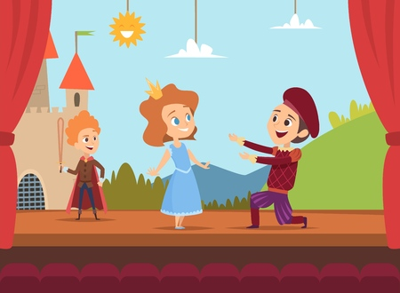 Kids at school stage. Children actors making big performance at scene dramatic scenery vector illustration. Children characters in drama, boy and girl on stage
