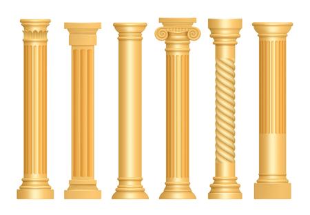 Golden antique column. Classic roman pillars architectural art sculpture pedestal vector realistic. Illustration of column architectural, pedestal stable