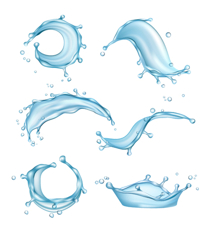 Water splashes. Liquid drops transparent nature watering vector realistic template. Illustration of splash and clear liquid, transparent water