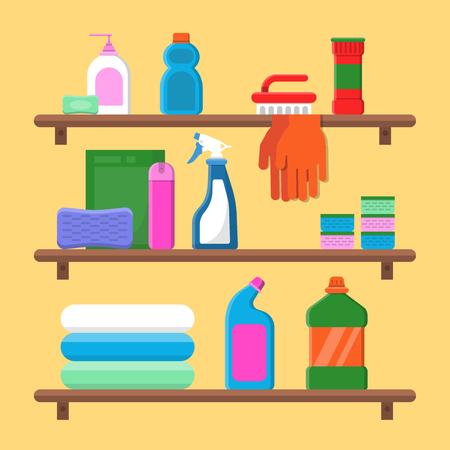 Households goods shelves. Chemical detergent bottles in laundry service room vector flat composition. Household spray for hygiene, plastic packaging, disinfectant product illustration