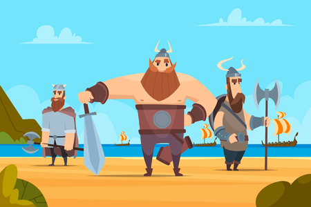 Viking warriors background. Medieval authentic military characters norwegian people vector cartoon landscape. Illustration of conqueror warrior bearded standing on new land Illustration