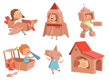 Cardboard kids playing. Childrens games with paper containers making airplane car and ship vector characters in cartoon style. Illustration of cardboard box costume, robot helmet and house Stock Illustratie