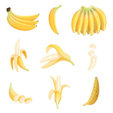Banana cartoon. Fruits half appetizing dessert vector pictures collection. Illustration of banana sweet fruit, fresh ripe