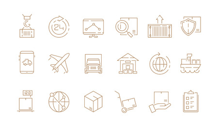 Logistic thin symbols. Delivering boxes and transport van free shipment sea freight vector outline icons collection. Illustration of delivery service, truck transport, transportation merchandise