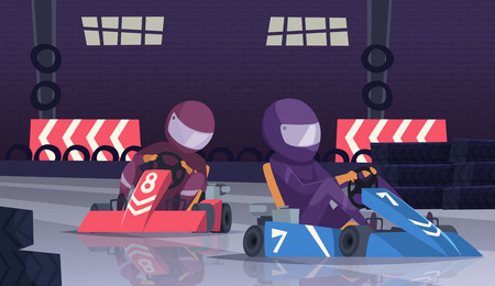 Karting sport competition. Racers in helmet in fast cars on speed track vector cartoon background. Illustration of championship competition, sport track route for speed go-kart