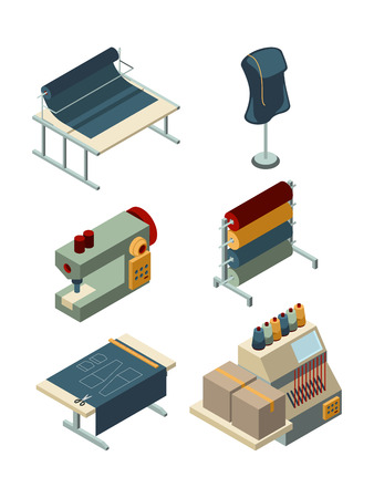 Textile isometric. Industrial sewing factory machinery production garments manufacturing vector collection. Equipment isometric for textile factory, set of machine illustration