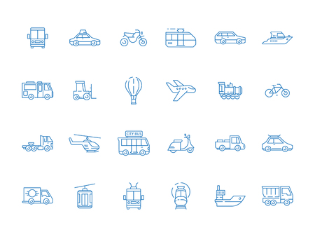 Urban vehicle icons. City transport planes boat cars boats truck vector thin line pictures set. Illustration of transport vehicle and public auto